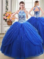 Royal Blue Halter Top Neckline Beading and Pick Ups Quinceanera Gowns Sleeveless Lace Up