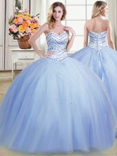 Sweet Light Blue Tulle Lace Up Sweetheart Sleeveless Floor Length Ball Gown Prom Dress Beading