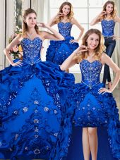 Four Piece Royal Blue Sweetheart Lace Up Beading and Embroidery and Pick Ups 15th Birthday Dress Sleeveless