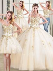 Affordable Four Piece Sweetheart Sleeveless Tulle Sweet 16 Dress Beading Lace Up