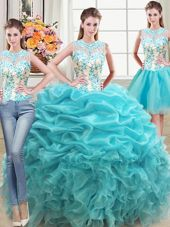 Spectacular Three Piece Floor Length Aqua Blue Quinceanera Gown Scoop Sleeveless Lace Up