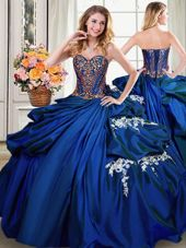 Sleeveless Taffeta Floor Length Lace Up Quince Ball Gowns in Royal Blue for with Beading and Appliques and Pick Ups