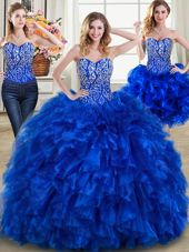 Three Piece Royal Blue Ball Gowns Organza Sweetheart Sleeveless Beading and Ruffles Lace Up Sweet 16 Quinceanera Dress Brush Train
