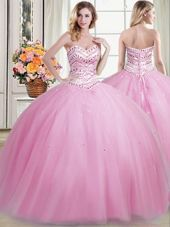 Modest Sleeveless Lace Up Floor Length Beading 15th Birthday Dress