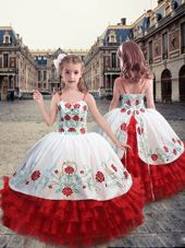 Classical Straps Sleeveless Organza Casual Dresses Embroidery and Ruffles Lace Up