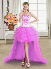 Stunning Ball Gowns Pageant Gowns Lilac Strapless Tulle Sleeveless High Low Lace Up