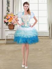 Exceptional Mini Length Ball Gowns Sleeveless Multi-color Pageant Dress for Teens Lace Up