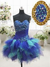 Sexy Multi-color Tulle Lace Up Pageant Dress for Girls Sleeveless Mini Length Beading