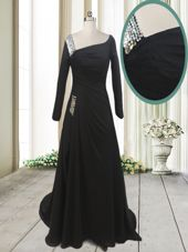 Beading Evening Dress Black Side Zipper Long Sleeves With Train Sweep Train