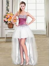 High Low Lace Up Pageant Dress for Womens White and In for Prom and Party with Beading