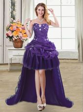Sexy Purple Cocktail Dresses Prom and For with Beading and Appliques and Pick Ups Sweetheart Sleeveless Lace Up