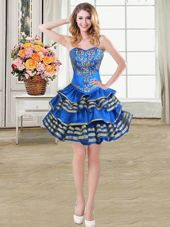 Ruffled Ball Gowns Pageant Dress for Womens Blue Sweetheart Taffeta Sleeveless Mini Length Lace Up