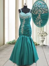 Inexpensive Mermaid Floor Length Teal Prom Gown Straps Sleeveless Lace Up