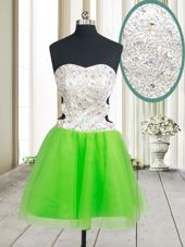 Exquisite A-line Beading and Sequins Prom Gown Zipper Tulle Sleeveless Mini Length