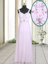 Colorful Straps Straps Pink Chiffon Zipper Homecoming Dress Sleeveless Floor Length Beading