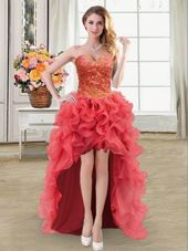 Enchanting Coral Red Organza Lace Up Sweetheart Sleeveless High Low Casual Dresses Beading and Ruffles