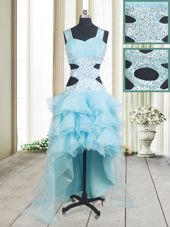 Enchanting Aqua Blue A-line Organza Straps Sleeveless Beading and Ruffled Layers High Low Criss Cross Dress for Prom