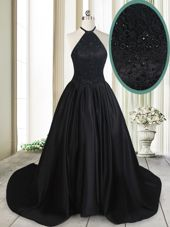 Sexy Black A-line Halter Top Sleeveless Taffeta Brush Train Lace Up Beading and Lace Prom Dresses