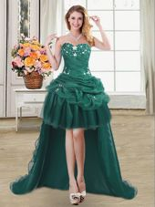 Organza Sweetheart Sleeveless Lace Up Beading and Appliques and Pick Ups Womens Party Dresses in Dark Green