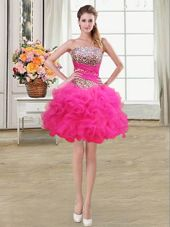 Dramatic Hot Pink Sleeveless Mini Length Beading and Ruffles and Ruffled Layers and Sequins Lace Up Cocktail Dress
