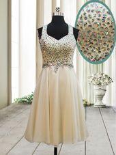Top Selling Straps Sleeveless Chiffon Evening Dresses Beading Side Zipper