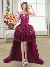 Burgundy Organza Lace Up Cocktail Dresses Sleeveless High Low Beading and Appliques and Pick Ups