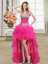 Luxury Sequins Ruffled High Low Ball Gowns Sleeveless Hot Pink Cocktail Dress Lace Up
