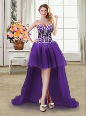 Flare Purple Ball Gowns Beading and Sequins Pageant Dress Womens Lace Up Tulle Sleeveless High Low