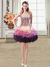 Popular Mermaid Multi-color Organza Lace Up Sweetheart Sleeveless Mini Length Pageant Dress for Girls Beading and Ruffles