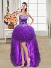 Sweet Ball Gowns Pageant Dress Womens Eggplant Purple Sweetheart Tulle Sleeveless Mini Length Lace Up