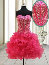 Extravagant Hot Pink Organza Lace Up Cocktail Dresses Sleeveless Mini Length Beading