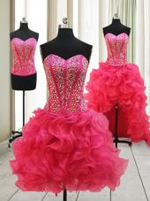Nice Hot Pink Three Pieces Beading Pageant Dress Wholesale Lace Up Organza Sleeveless High Low