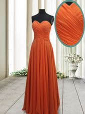 Sweet Floor Length Orange Red Evening Dress Chiffon Sleeveless Ruching