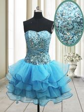 Flare Sequins A-line Prom Party Dress Baby Blue Sweetheart Organza Sleeveless Mini Length Zipper