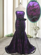 Stylish Mermaid Strapless Sleeveless Sweep Train Lace Up Dress for Prom Purple Satin and Lace