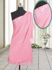 Rose Pink Side Zipper One Shoulder Beading Prom Gown Chiffon Sleeveless