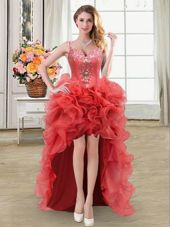 Straps Straps High Low Lace Up Pageant Dress Toddler Coral Red and In for Prom and Party with Beading and Ruffles