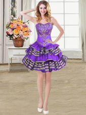 Hot Selling Sleeveless Beading and Embroidery and Ruffled Layers Lace Up Pageant Dress