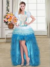 Multi-color Sleeveless Beading and Appliques and Ruffles High Low Pageant Dress for Teens