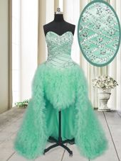 Enchanting Apple Green A-line Tulle Sweetheart Sleeveless Beading and Ruffles With Train Lace Up Pageant Dress Brush Train