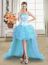 High Low Lace Up Custom Made Light Blue and In for Prom and Party with Beading and Appliques and Ruffles