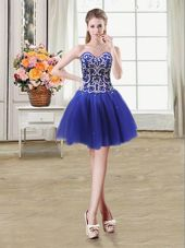 Designer Tulle Sleeveless Mini Length Pageant Dress Toddler and Beading and Sequins