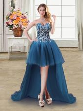 Noble Sweetheart Sleeveless Party Dress Wholesale High Low Beading and Sequins Teal Tulle