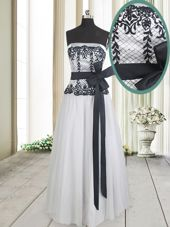 White And Black Strapless Zipper Lace and Bowknot Sleeveless