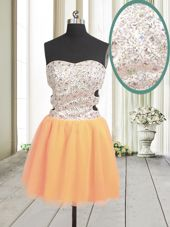 Wonderful Sleeveless Mini Length Beading and Sequins Zipper Homecoming Dress with Orange
