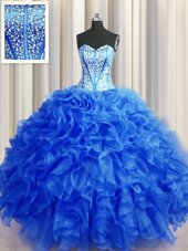 Sweetheart Sleeveless Tulle Sweet 16 Quinceanera Dress Beading Brush Train Lace Up
