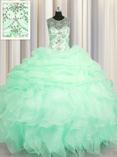 Modest Bling-bling Puffy Skirt Tulle Sweetheart Sleeveless Lace Up Beading Sweet 16 Dresses in Light Yellow