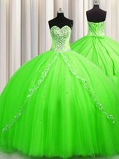 Low Price Sleeveless Tulle Brush Train Lace Up 15 Quinceanera Dress for Military Ball and Sweet 16 and Quinceanera