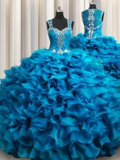 Zipple Up See Through Back Teal Ball Gowns Beading and Ruffles Sweet 16 Dress Zipper Organza Sleeveless Floor Length