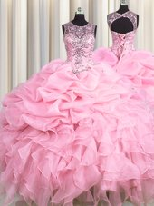 Scoop See Through Baby Pink Lace Up 15 Quinceanera Dress Beading and Ruffles and Pick Ups Sleeveless Floor Length